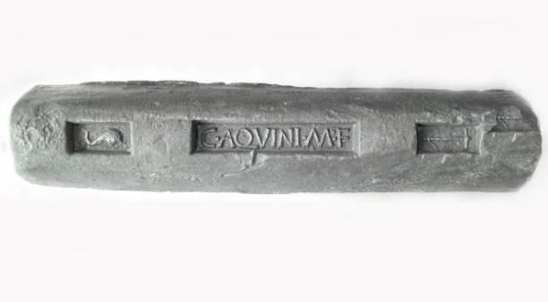 A Roman lead ingot.
