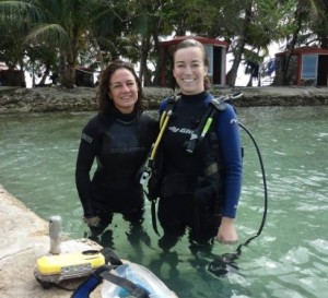Me and my dive partner after completing a 1.5 hour dive surveying marine invertebrates!