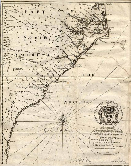 """A map of the North and South Carolina coasts from the 1709 publication """"A New Voyage to Carolina"""" by John Lawson.  Lawson was a British settler in NC who compiled the publication to help facilitate trade between Britain and the Carolinas.  From http://www.learnnc.org/lp/editions/nchist-colonial/1976."""