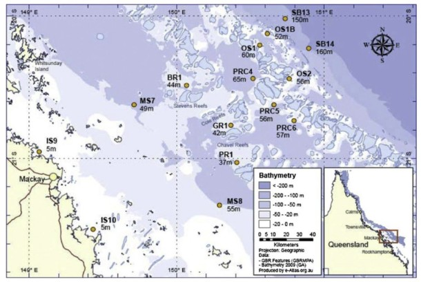 Map depicting the location of the sediment traps used in Burns' study.  Abbot Point is located off the map, to the north of Mackay. Image from Burns 2014.