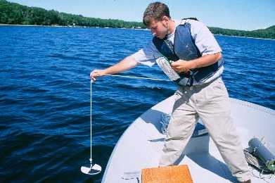 A Secchi disk is a black-and-white disk used to measure water transparency. It's lowered over the side of a boat until no longer visible, and the amount of rope released is recorded to determine water depth. Image from http://pidjanga.blogspot.com/2006_09_01_archive.html.