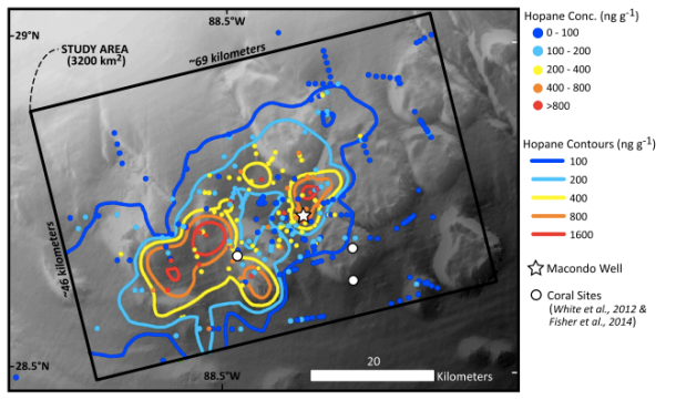 "From Valentine et al. 2014: ""hot"" colors show areas with higher oil concentrations, while ""cool"" colors are areas with less oil. The star shows the location of the Macondo well."