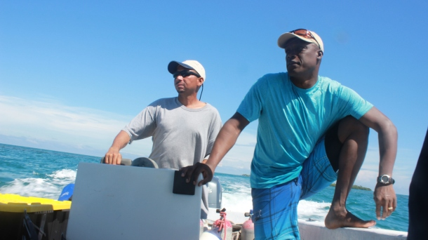Karl and Dale (one of our captains) working some coral finding magic. (Credit: Joe Townsend)