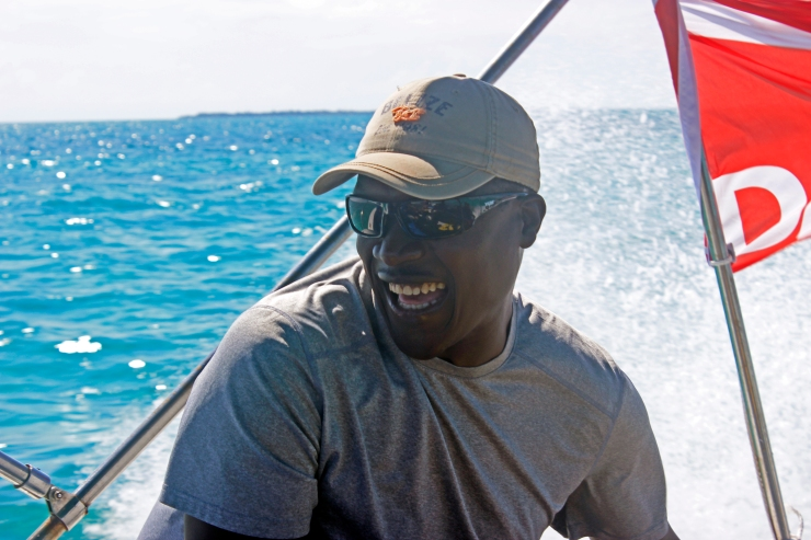Karl is almost always happy, but when he is in Belize he is extra happy (it's probably the fry jacks). (Credit: Joe Townsend)