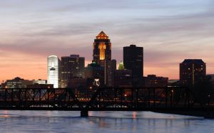 "Oh, Des Moines.  Named the ""Wealthiest City in America"" in 2014 by NBC.  Who knew?  Image courtesy: http://commons.wikimedia.org/wiki/File:DesMoinesIowaSkyline.jpg."