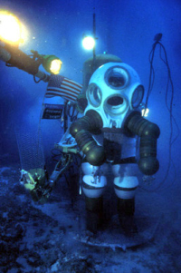 Sylvia Earle in the atmospheric diving suit (JIM suit) from http://www.achievement.org/autodoc/page/ear0bio-1