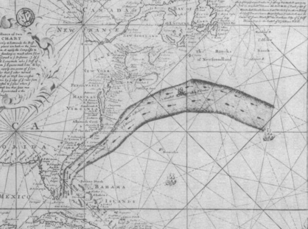 The original Franklin Folger map, zoomed in on the Gulf Stream. Image from Richardson 1980.