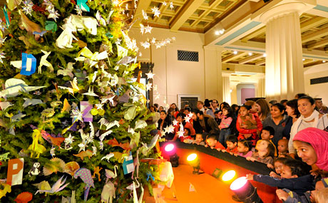 On the plus side of visiting at Christmas, you do get to see the museum's amazing origami tree!  Image from http://www.nycgo.com/slideshows/dont-miss-holiday-events-2013/2/
