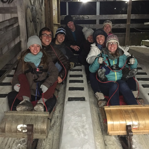 Quebec loves winter sports. The Castillo Lab+ honorary member Mallory enjoying a toboggan race at a large slide just outside the Chateau. Quebec also features many ice skating rinks and trails.