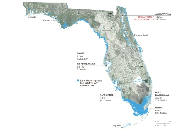 The turquoise areas in this map would be below the high tide line with a 5 ft sea level rise. The map is annotated with the number of homes affected and property value lost in major cities. Image from http://ngm.nationalgeographic.com/2015/02/climate-change-economics/florida-coast-map.
