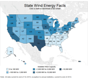 Breakdown of installed wind capacity by state. Notice anything weird about the Southeast? (x)