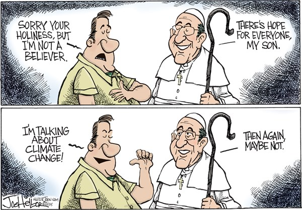 There are limits to even the pope's patience. Image from http://www.climatechangedispatch.com/us-republicans-shrug-off-pope-francis-climate-message.html