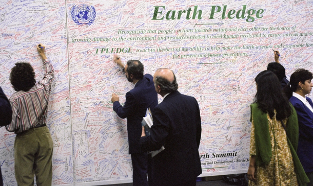 People did really think about climate change in 1992. They even signed an Earth Pledge!