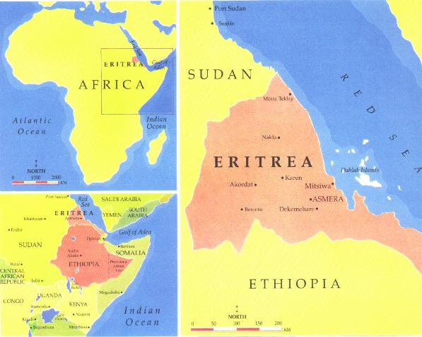 A map of Eritrea. Hargigo is located to the south of Mitsiwa (also known as Massawa). Image from http://www.tamu.edu/faculty/ccbn/dewitt/manzanar/default.htm