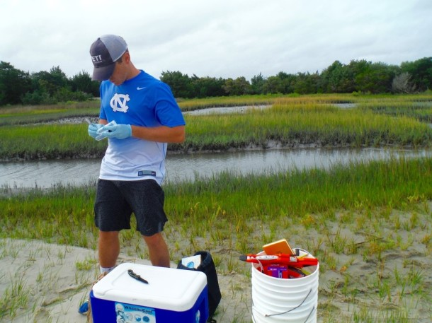 Another of the subgroups which includes Ryan Leighton (pictured) is focused on bacterial analysis of the debris to see what kinds of bacteria are living on the trash and whether it is harmful to humans. PC: Abbey Vinson