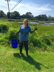 It is a muddy, muddy job collecting oysters as shown by Abbey Vinson's clothes after a day in the field PC: Madeleine Denton