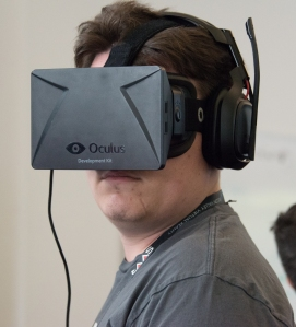 Palmer Luckey wearing Oculus Rift DK1 (developer kit 1) at SVVR