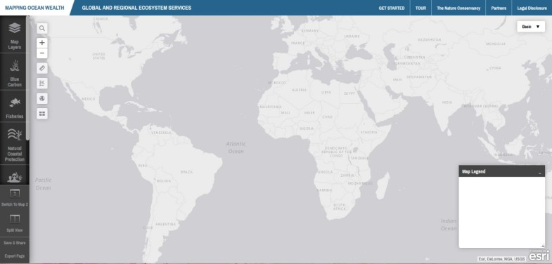 The default map view of the Mapping Ocean Wealth portal.
