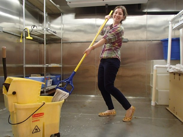 Today's activity, which may or may not have inspired this post topic: mopping the environmental chamber! This is best done while pretending to waltz with the mop.