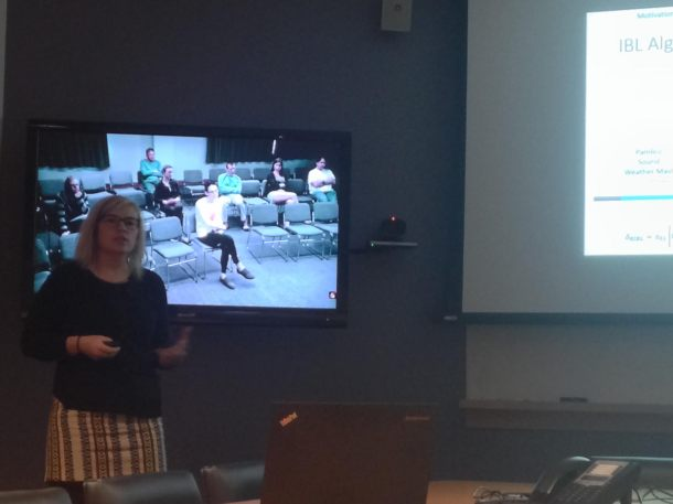 Megan killing it at her M.S. defense. Photo by Kelsey Ellis.