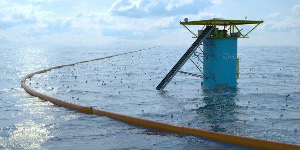 The cleanup apparatus. The mooring secures the booms, which have a screen hanging from them to help collect debris. Image from https://www.theoceancleanup.com/technology/