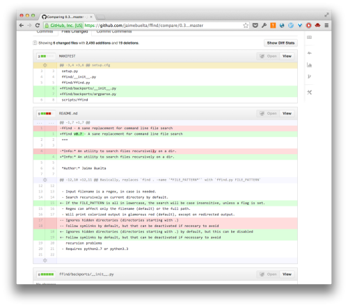 An example of version control using GitHub. The red and green lines are code that was deleted and added, respectively. Image from https://wrongsideofmemphis.wordpress.com/2013/02/19/github-for-reviewing-code/